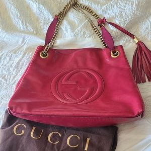 Authentic Gucci Soho Patent Leather Fuschia